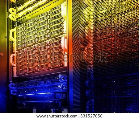 disk array in the data center tone - stock photo