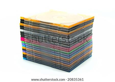 Disk boxes on white background - stock photo