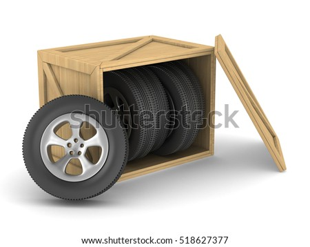 disk wheels in box on white background. Isolated 3D image