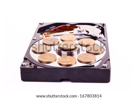 Disk without cower disk with israeli coins isolated on white background - stock photo