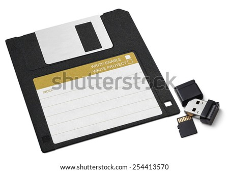 Diskette, small USB flash memory and flash card. On a white background. - stock photo