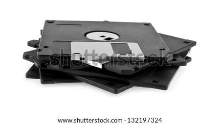 diskettes on a white background - stock photo