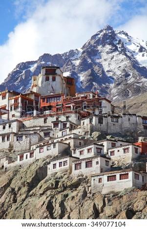Diskit gompa - Buddhist monastery in the Nubra Valley of Ladakh, Jammu & Kashmir - stock photo