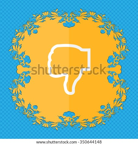 Dislike. Floral flat design on a blue abstract background with place for your text. illustration - stock photo