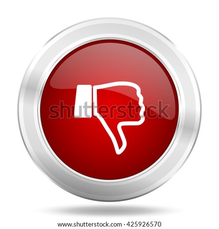 dislike icon, red round metallic glossy button, web and mobile app design illustration - stock photo