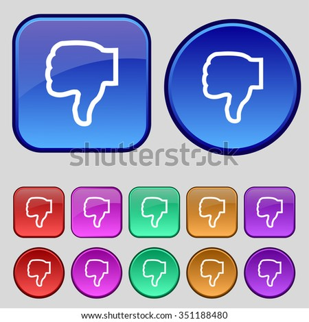 Dislike icon sign. A set of twelve vintage buttons for your design. illustration - stock photo