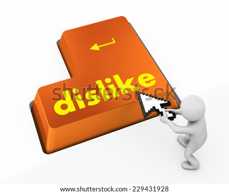 dislike key on keyboard for anti social media concepts facebook,twitter,social media, - stock photo