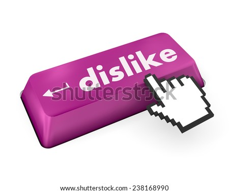 dislike key on keyboard for anti social media concepts ,social media - stock photo