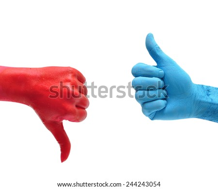 dislike red hand and like blue hand over white - stock photo