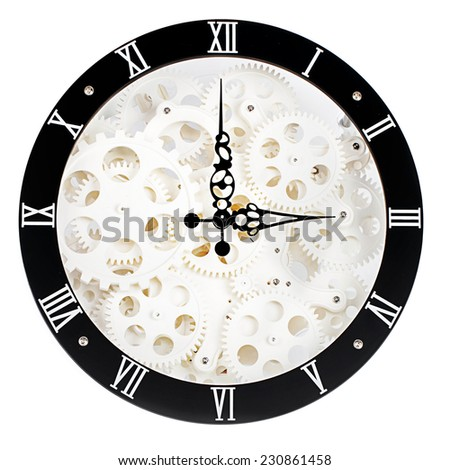 dismantled clock mechanism, gearwheels; differential focus  - stock photo
