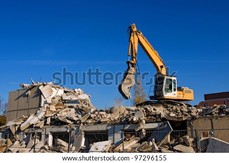 dismantling of a house - stock photo