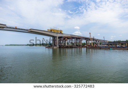 Dismantling of the Voroshilovskiy bridge in Rostov-on-Don, Russia