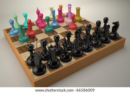 Disordered color chess team vs. regular black team - stock photo