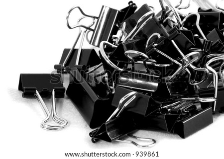 Disordered Pile of Binder Clips