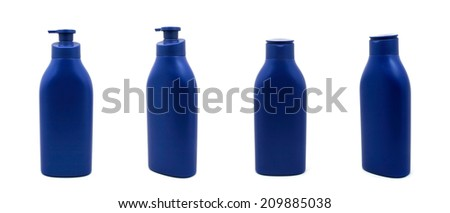 Dispenser Pump Cosmetic Or Hygiene Blue, Plastic Bottle Of Gel, Liquid Soap, Lotion, Cream, Shampoo - stock photo