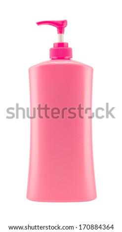 Dispenser Pump Cosmetic Or Hygiene Pink,  Plastic Bottle Of Gel, Liquid Soap, Lotion, Cream, Shampoo - stock photo