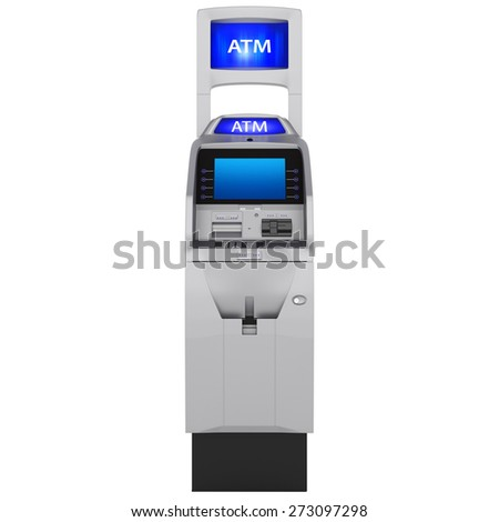 Display and keyboard. Cash ATM with buttons and touch screen isolated on white background - stock photo