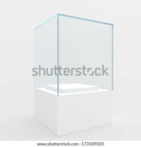 display case. 3d render. isolated on gray background - stock photo