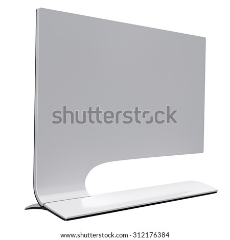 Display in futuristic style made in black plastic and white reflected metal. 3d graphic object on white background isolated