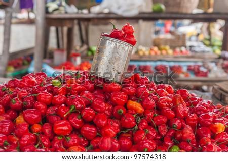 Display of chilli to the market of Ambilobe, northern Madagascar - stock photo