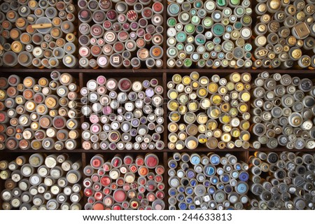 Display Of Colorful Buttons On Market Stall