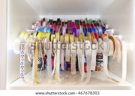 Display Of Colorful Gift Wrapping Ribbons In Shop