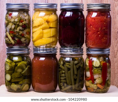 Display of fresh homemade vegetables and fruits - stock photo