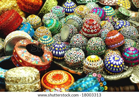 display of jewellery box for sale at the market - stock photo