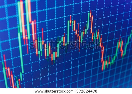 Display of quotes pricing graph visualization. Shallow DOF. Blue background with stock chart. Stock market and other finance themes. Finance concept. Financial graph on a computer monitor screen.   - stock photo