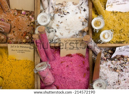 Display of Salts of Different Flavors - stock photo