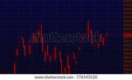 Display of stock market quotes. Business graph. Candlestick chart on color background investment trade.