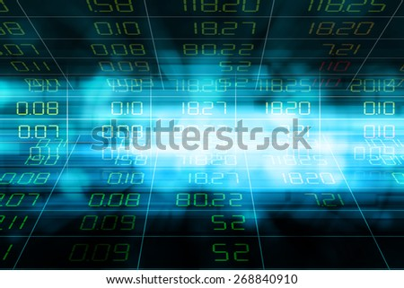 Display of Stock market quotes in blue motion blur abstract background.