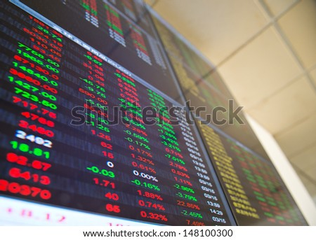 Display of Stock market quotes in China. - stock photo