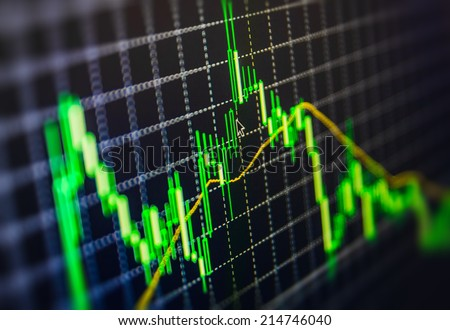 Display of Stock market quotes. Macro close-up. Shallow depth of field effect and mouse pointer cursor showing current price movement. Display of Stock market quotes pricing abstract background graph. - stock photo