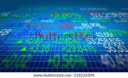 Display of Stock market quotes. Shallow depth of fields. - stock photo