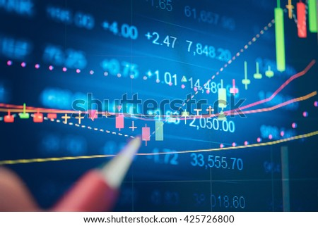 Display of Stock market quotes. Stock market chart. Business graph background. Forex trading.