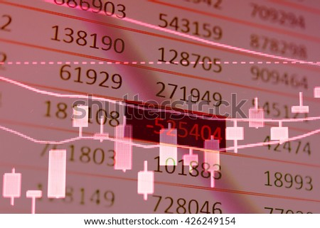 Display of Stock market quotes. Stock market chart. Business graph background. Forex trading. Candle stick graph chart of stock market investment trading. - stock photo