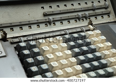 Display of the mechanical calculator with part of keyboard