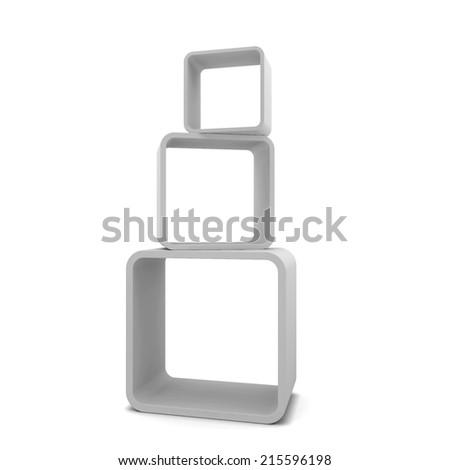 Display shelves. 3d illustration isolated on white background  - stock photo