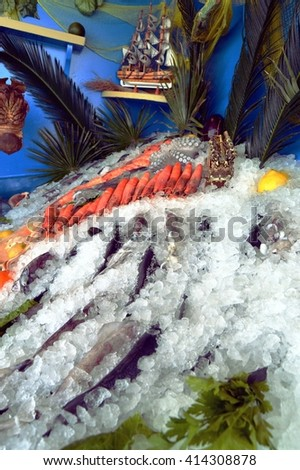Display stands of fishes and sea foods but also shellfish put on the ice.