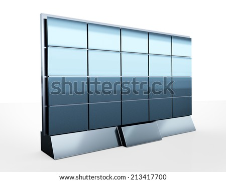Display wall with blank screens. View from front - stock photo