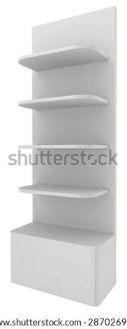 Displays with shelves isolated on white background. - stock photo