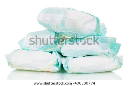 Disposable baby diapers isolated on white background. - stock photo