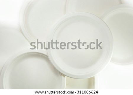 Disposable bio-degradation plate (dish) made from bargasse - stock photo