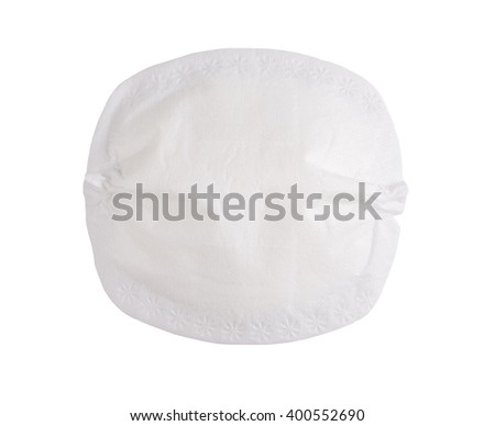 disposable breast pad isolated on white background - stock photo