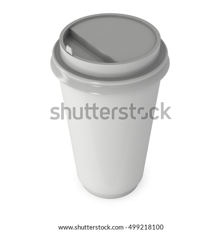 Disposable coffee cup. Blank paper mug with plastic cap. 3d render isolated on white background