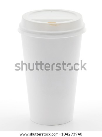Disposable coffee cup on white background - stock photo