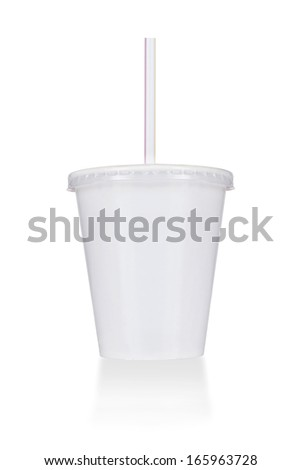 Disposable cup of big volume for beverages with straw. Isolated on a white.