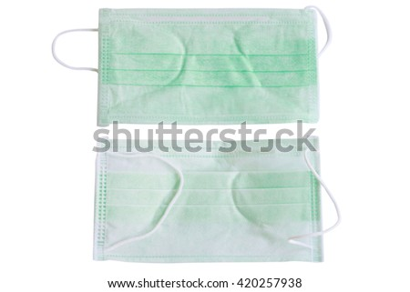Disposable face mask isolated on white background.
