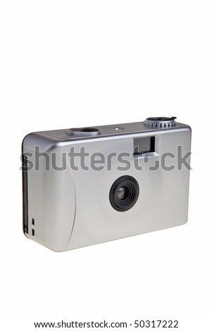 Disposable 35mm photo camera isolated over white background. - stock photo